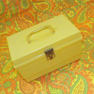 Vintage 70s Sewing Organizer Box Retro Yellow